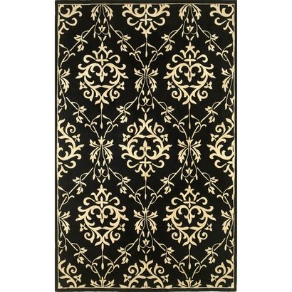 Rug Amp Curtains Match Too Much Damask Rug Rugs Black Rug