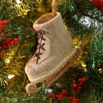 We love the wonderful nostalgia of the Burlap Ice Skate Ornament! #Kirklands #CozyChristmas #holidaydecor