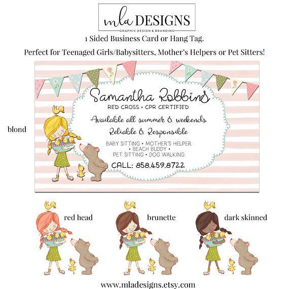 Baby Sitter Card Mother S Helper Business Card Pet Etsy Babysitting Helper Jobs Sitter