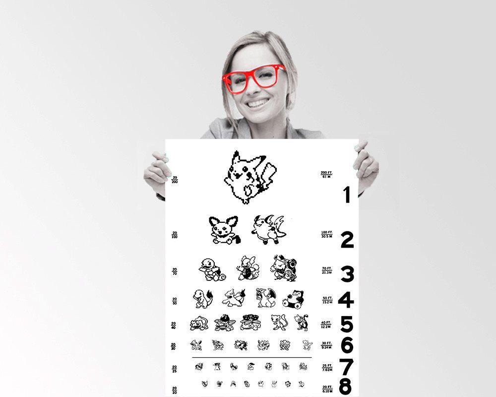 Pokemon eye chart pikachu snorlax charmander custom geek pokemon eye chart pikachu snorlax charmander custom geek typography quote wall art poster by theuniquegeekie nvjuhfo Image collections