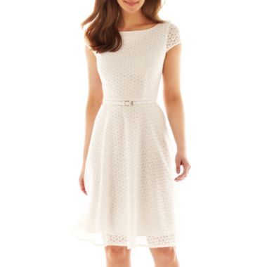 """""""From a day the office to a day in the sunshine, the lovely look of eyelet lace combines with the feminine fit-and-flare silhouette of our belted dress to give you perfectly sweet style."""" JCP"""