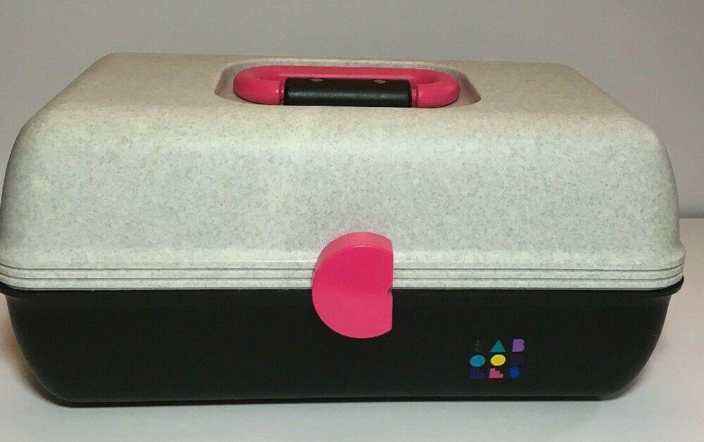 Caboodles Rare Vintage Makeup Case White Speckle Black With Pink