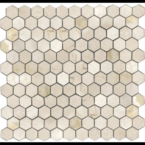 1 Inch Crema Marfil Marble Hexagon Pattern Tumbled Mosaic Tile Mosaic Tiles Tiles Hexagon Pattern