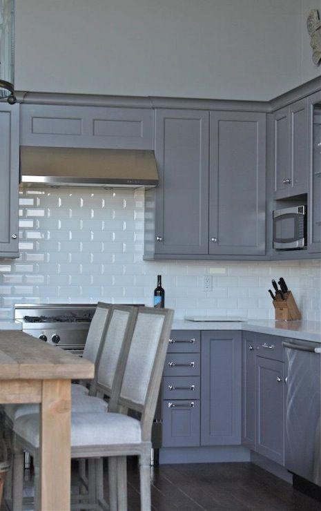 Gray Shaker Cabinets White Beveled Subway Tile Shaker Style