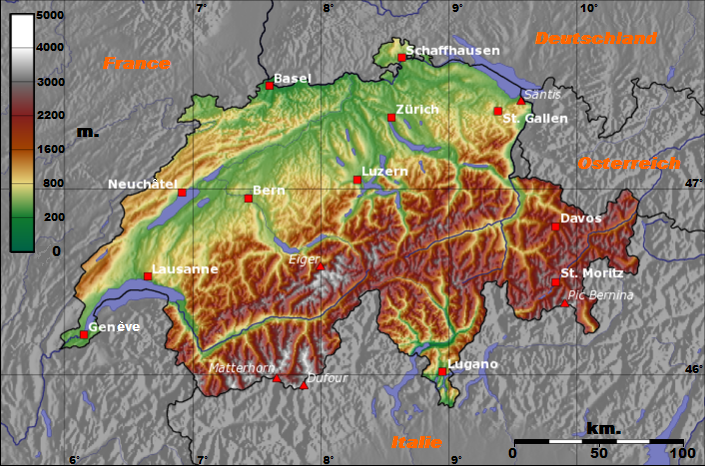 Topographic Map Of Switzerland Topography Pinterest Map Of