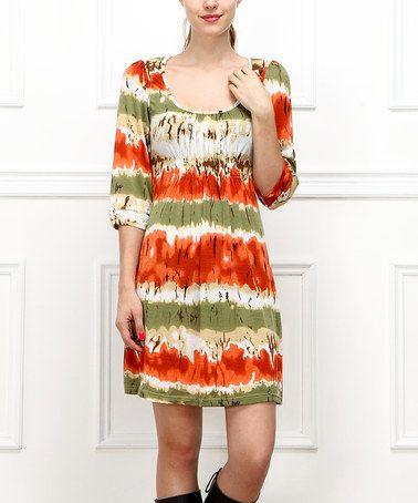 Another great find on #zulily! Orange & Green Shirred Scoop Neck Dress - Women #zulilyfinds