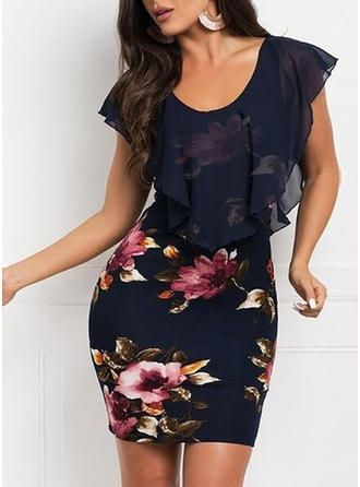 VERYVOGA Casual Above Knee Round Neck Polyester Print Short Sleeves Print Floral Bodycon Dresses.