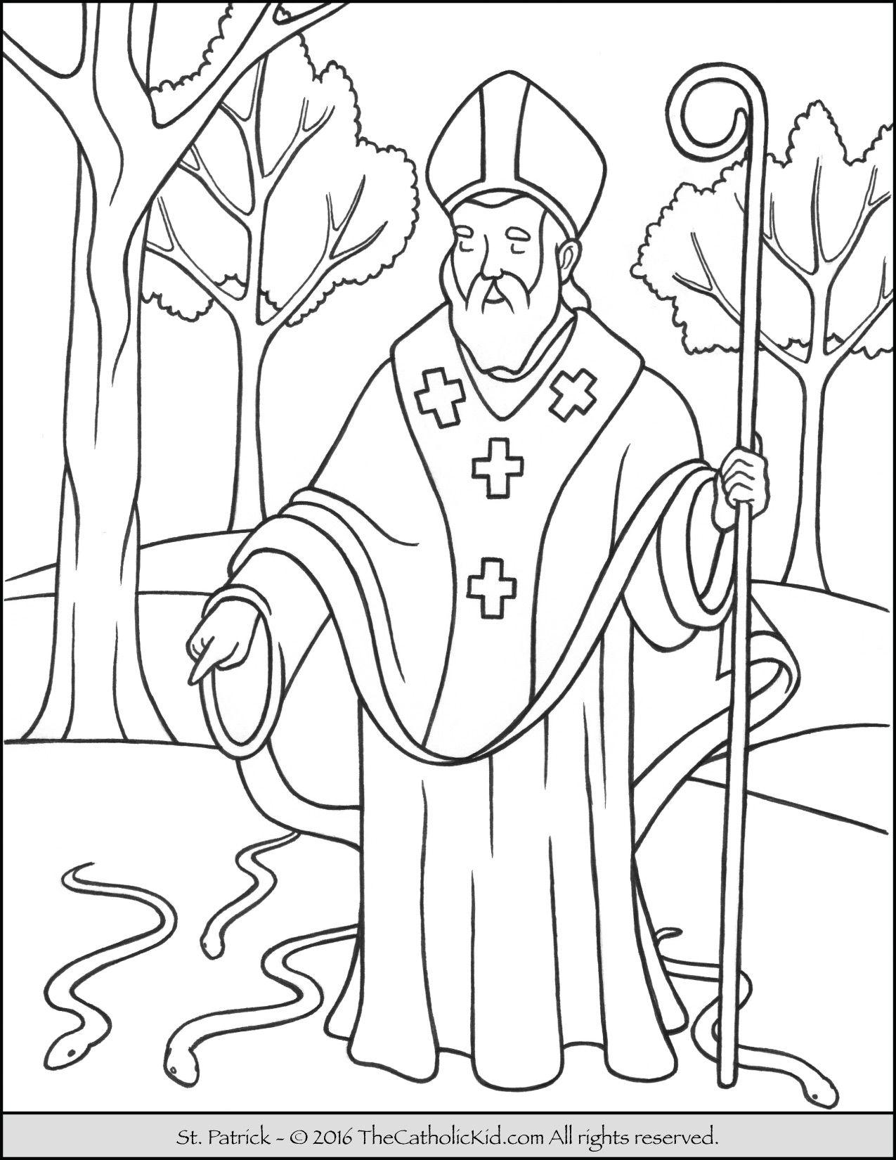 Saint Patrick Coloring Page The Catholic Kid Catholic Coloring Coloring Pages Saint Coloring