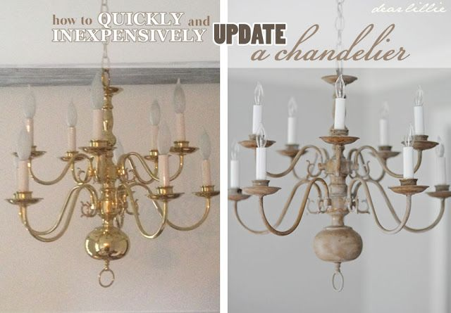 Dear Lillie Making Over A Chandelier With Chalk Paint Chandelier Makeover Brass Chandelier Makeover Diy Chandelier