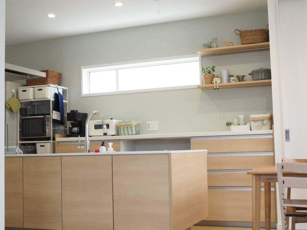 パナソニック ラクシーナのカップボードの収納例 4段引出しと家電収納