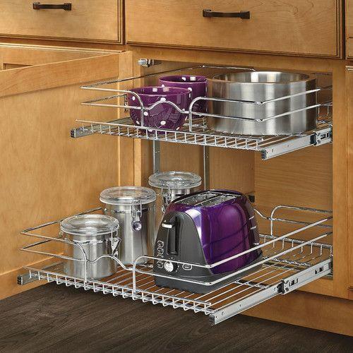 Rev A Shelf 21 X 22 2 Tier Wire Basket Cabinet Organizer Rack