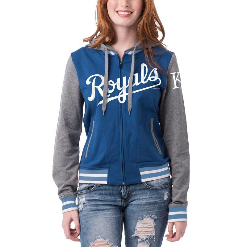 6ecd267b9df2 Kansas City Royals 5th   Ocean by New Era Women s French Terry Contrast  Sleeves Full-Zip Hoodie Jacket - Royal Charcoal