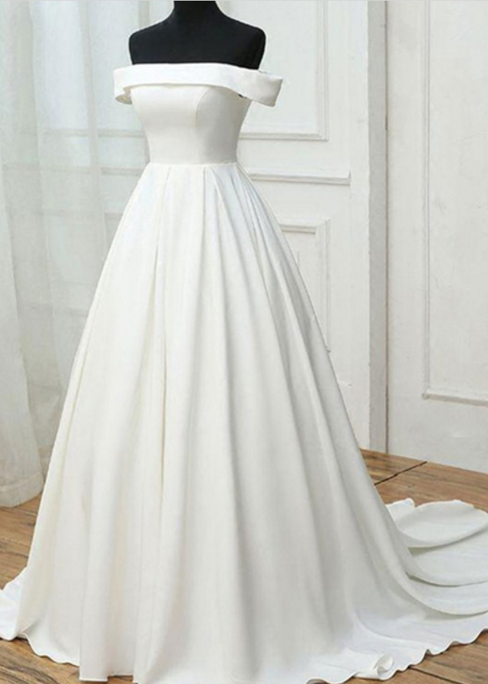 Simple white satin prom dresses,off shoulder long sweet 16 prom ...