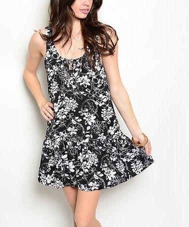 Loving this Black & White Floral Drop-Waist Dress on #zulily! #zulilyfinds