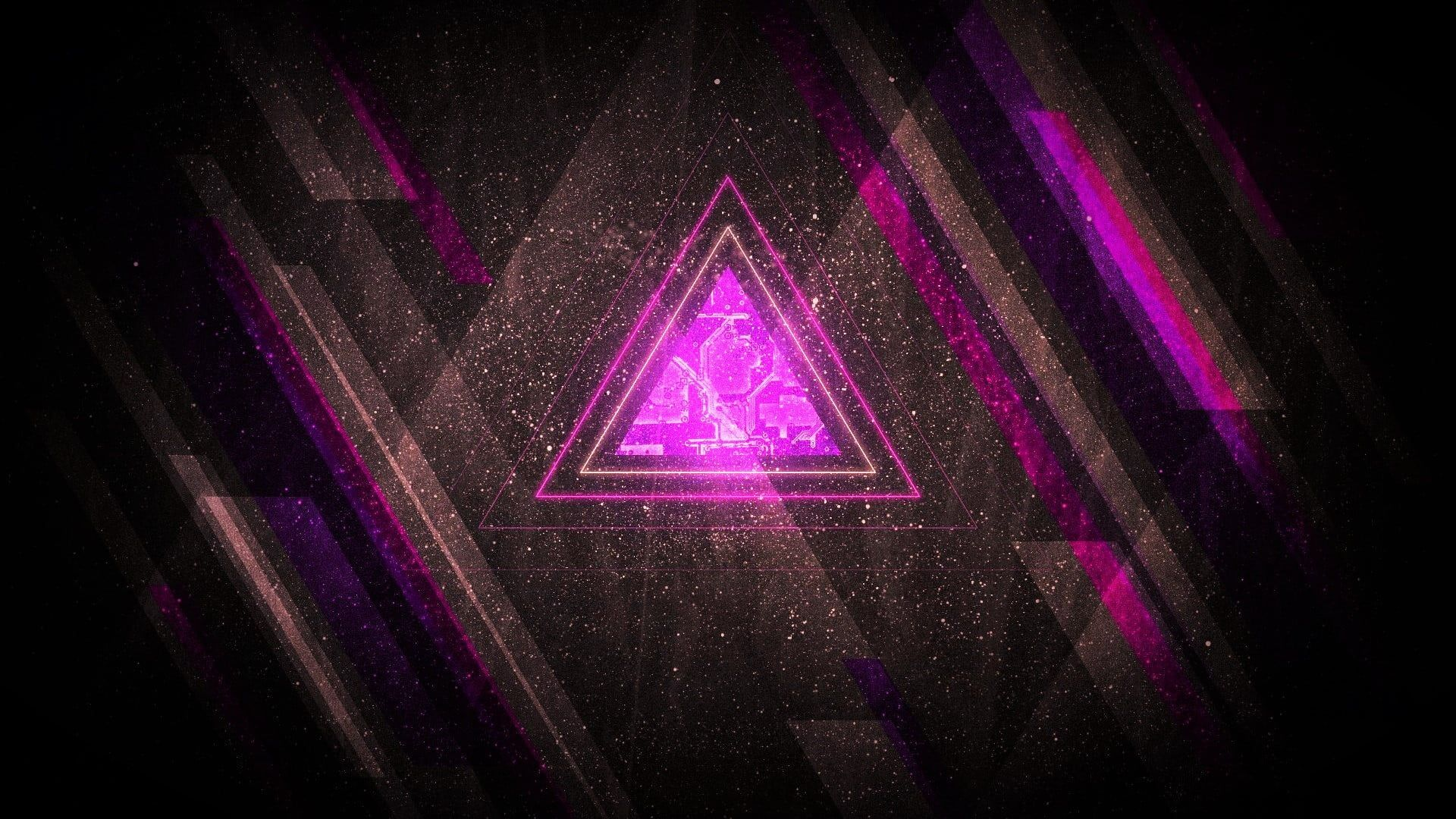 Purple And Black Logo Abstract Purple Triangle Shards Digital Art 1080p Wallpaper Hd Abstract Wallpaper Backgrounds Abstract Wallpaper Gaming Wallpapers