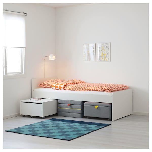 bettgestell sitzelement aufbew sl kt wei grau ikea. Black Bedroom Furniture Sets. Home Design Ideas