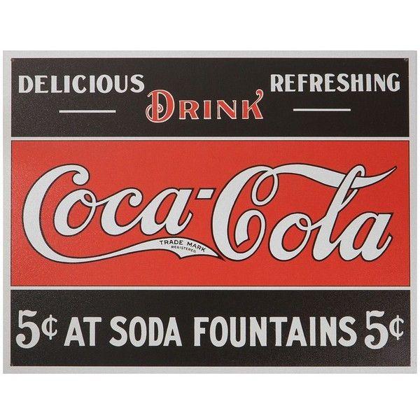Coca-Cola Vintage Metal Wall Decor, Black ($27) ❤ liked on Polyvore ...