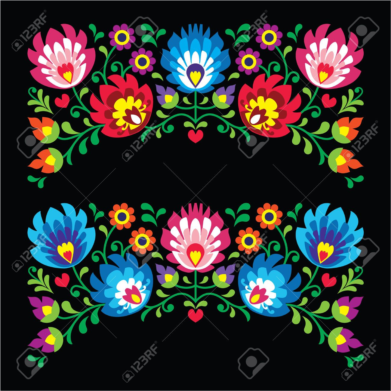 Polish floral folk embroidery patterns for card on black - Wzory ...