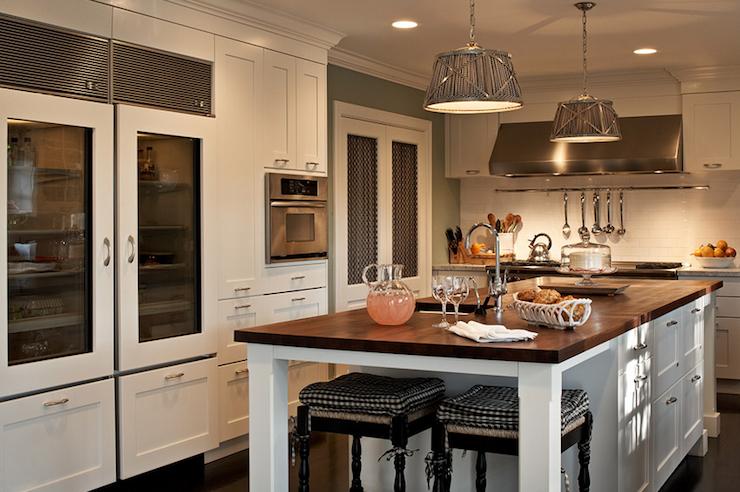 amazing white cabinet kitchen islands | Creamy white Shaker wire mesh kitchen cabinets, glass ...