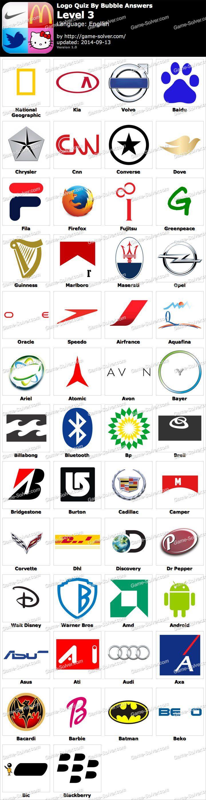 Logos Level 3 : logos, level, Bubble, Answers, Level, Quiz,, Answers,