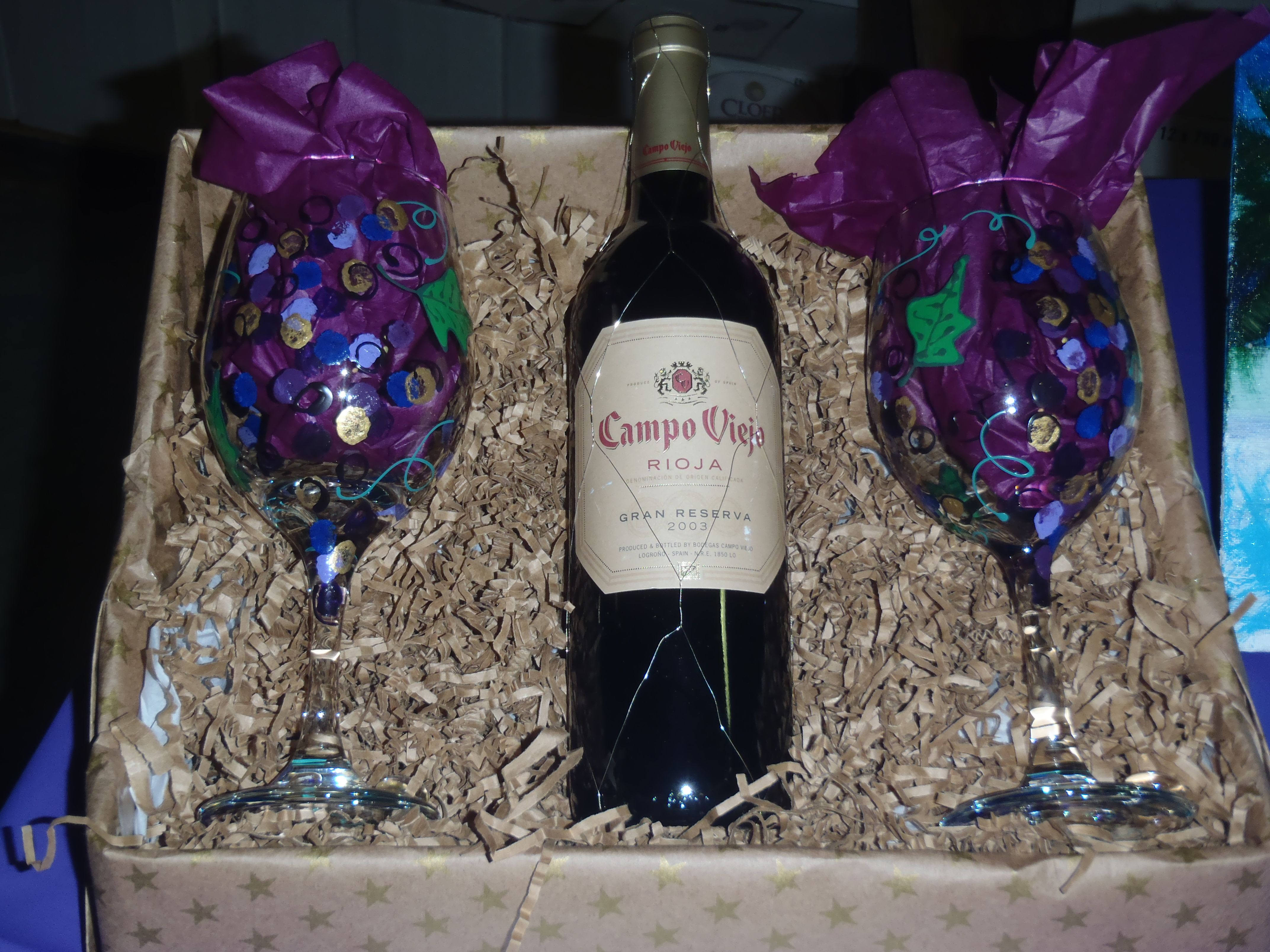 Gift Basket Ideas With Beautifully Hand Painted Wine Glasses From