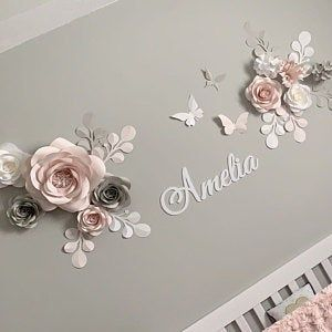 Personalized Nursery Wall decor - Paper Flowers Wall Decor in Pink - Personalized Nursery Sign