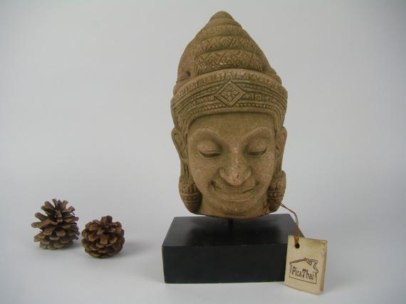 Buddha statue on pedestal, Stone Buddha Sculpture, Buddhist Decoration, Remembrance of Thailand, Chi #buddhadecor