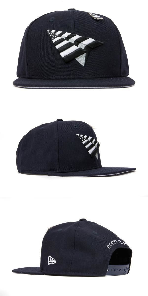 d49aa247dc1 Hats 52365  Roc Nation Paper Plane Old School Crown Snapback In Navy Grey  -  BUY IT NOW ONLY   59.99 on eBay!