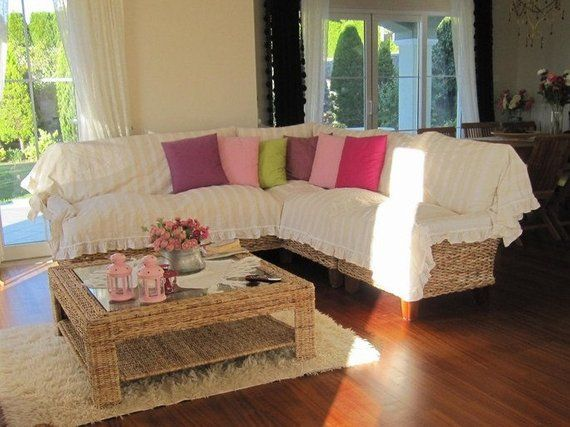 Sectional couch cover - L shaped sofa throw covers -ruffled ...
