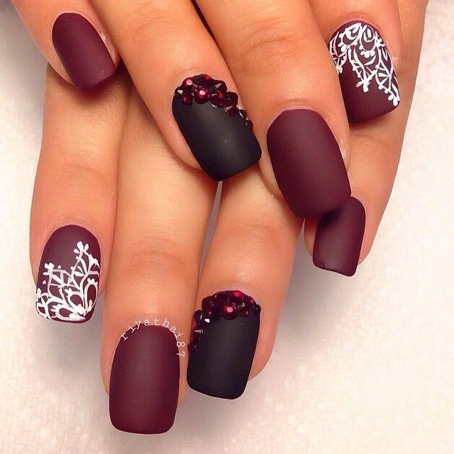 1101849392767431726609965566843n nails pinterest black burgundy matte nails black matte accent nails with garnet swarovski crystals white lacey freehand stamping on indexes prinsesfo Gallery