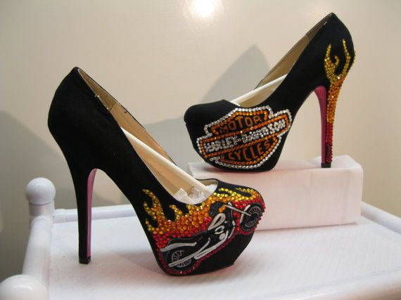 CUSTOM HARLEY DAVIDSON Flame heels by KUSTOMKICKZ on Etsy