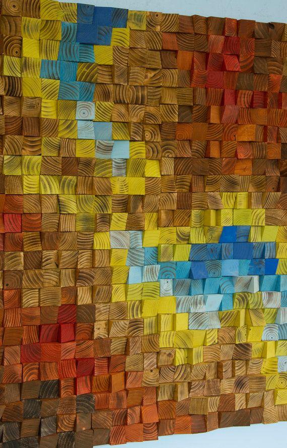 Custom Wall art, Wood wall Art Sculpture , earth tones, geometric ...