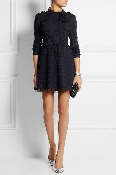 REDValentino | Point d'esprit tulle-trimmed wool mini dress | NET-A-PORTER.COM