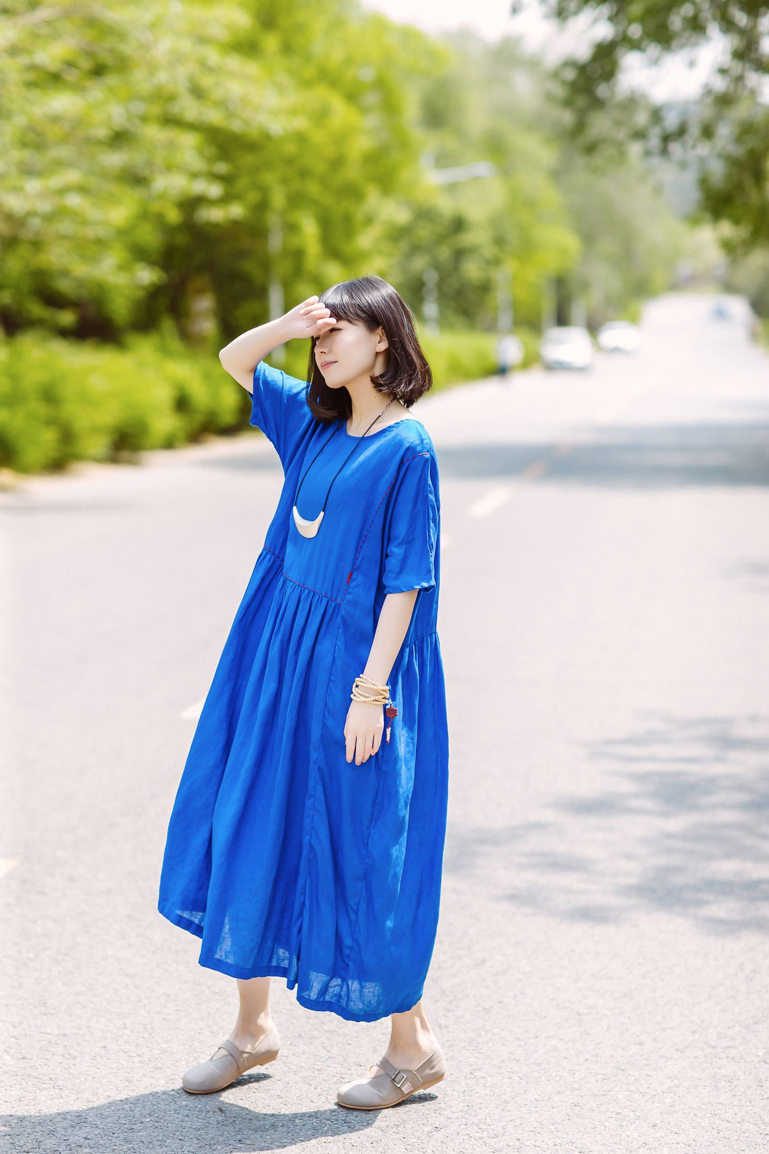 Solid color line embroidered dress girlish linen plus size dress