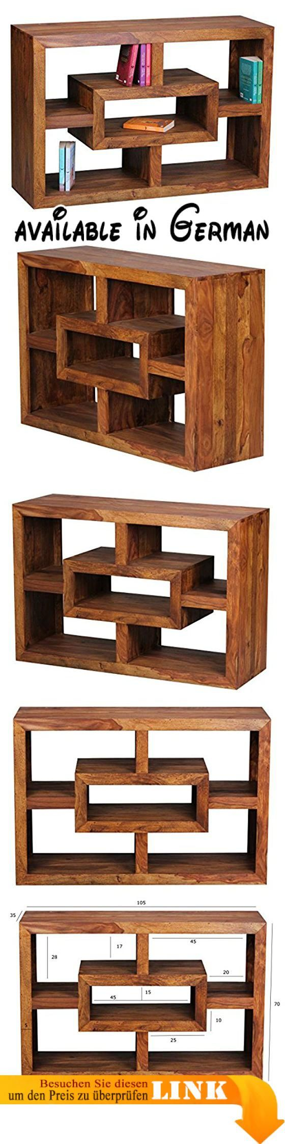 B00LCKU9F8 : WOHNLING Bücherregal Massiv-Holz Sheesham 105 x 70 cm ...
