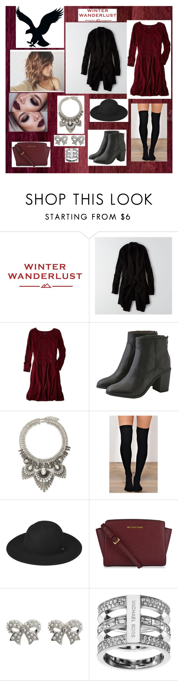"""Winter Wanderlust with American Eagle: Contest Entry"" by babylaci ❤ liked on Polyvore featuring American Eagle Outfitters, Forever 21, Whistles, M&Co, Michael Kors and aeostyle"
