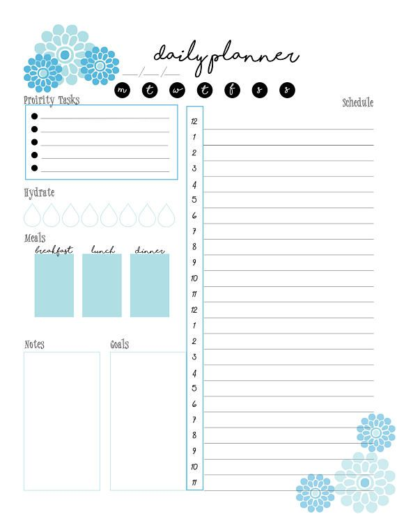 Printable Daily Planner Daily Schedule Letter & A5 Size | Best of ...