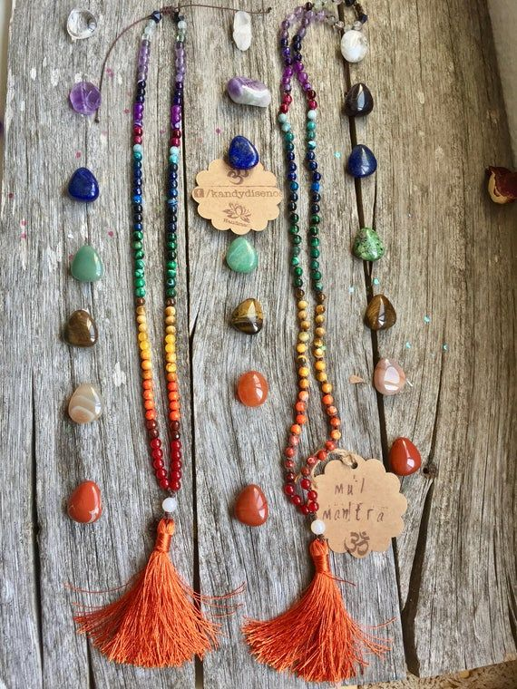 Photo of 7 Chakras Mala Bracelet 108 beads, Chakra Stone Jewelry for Balance, Strength and Optimism. Small Mala beads necklace (6mm)