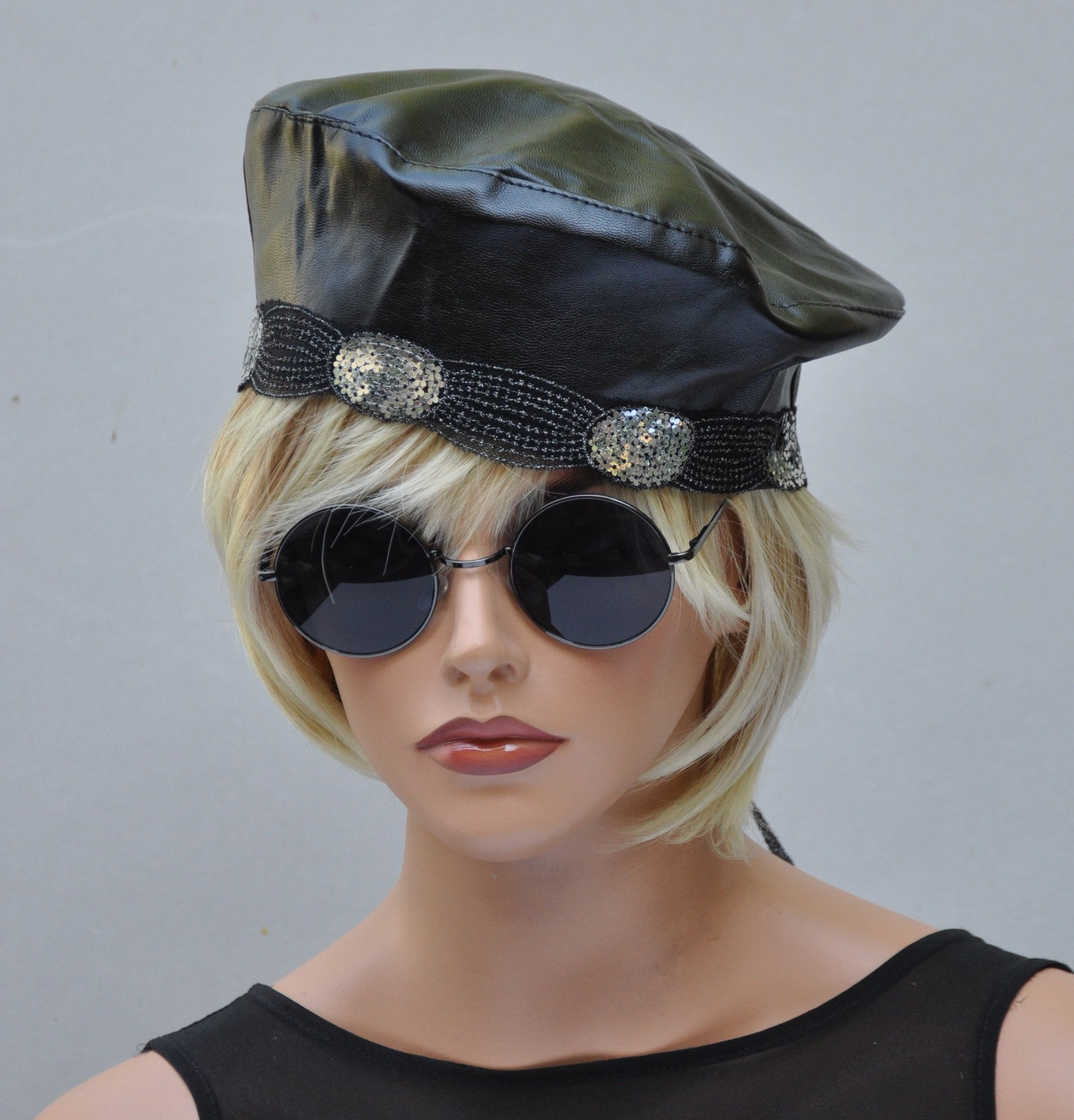 Black leather beret ladies black hat formal black hat leather beret jpg  2211x2306 Ladies leather hats b83ddb3baa3d
