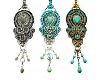 Soutache pendant necklace bold and unusual от rododendron7