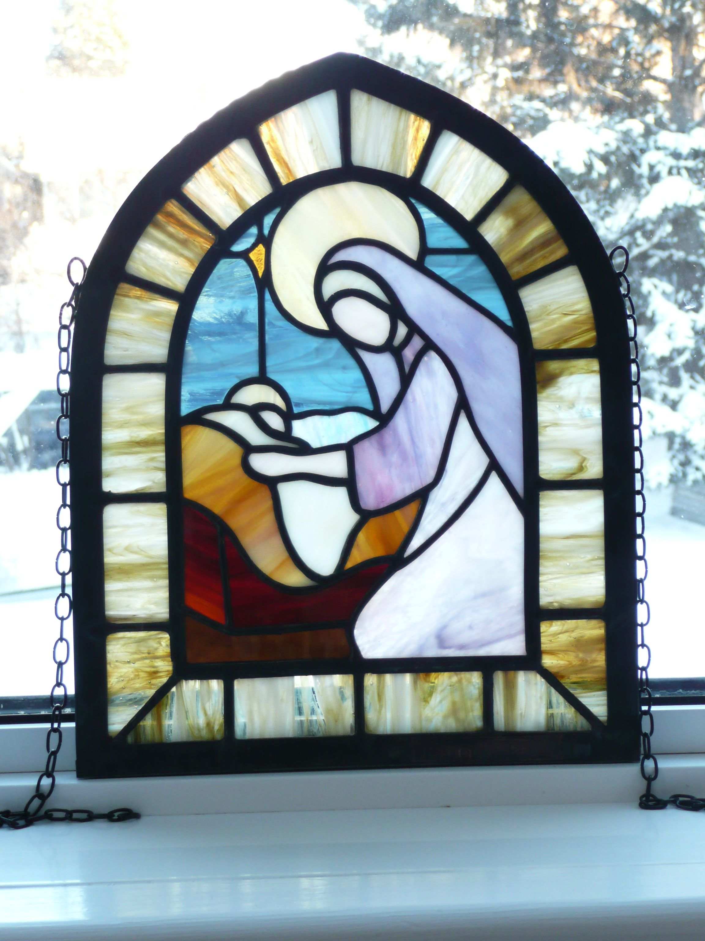 Pin By Willetta Rickey On Images Madonna And Child Madonna And Child Stained Glass Nativity Ornaments