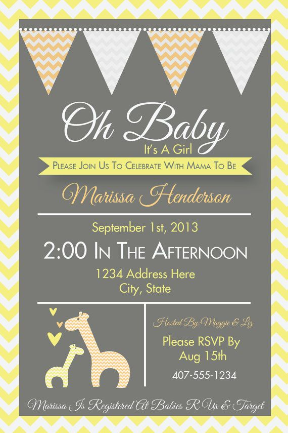 Giraffe Invitation, Giraffe Baby Shower, Safari Baby Shower, Gender ...