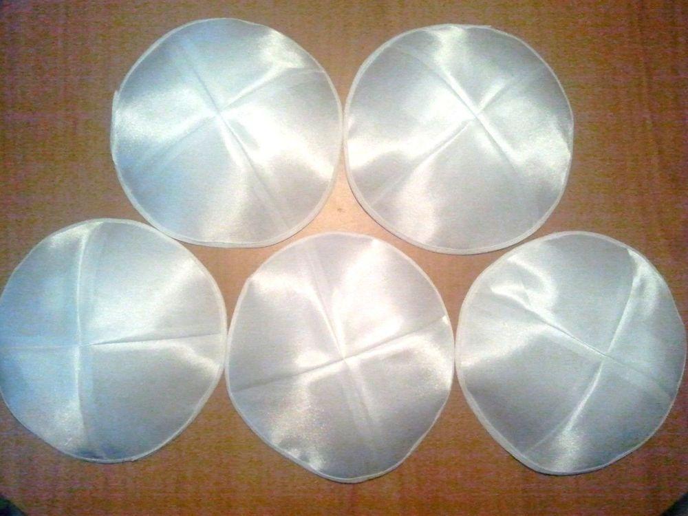 Jewish Kippahs Yarmulkes Classical White Satin 19cm 5 Pcs