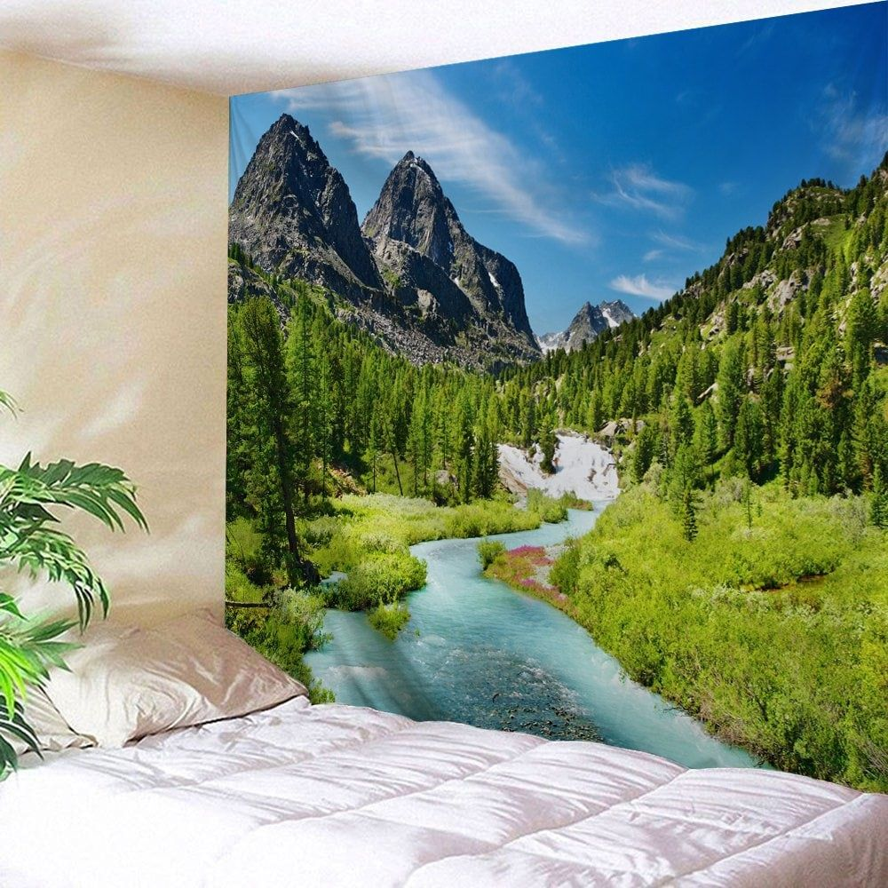 mountain forest stream printed wall hanging art tapestry on walls coveralls website id=50230