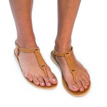 d335ff520d471 Caramel Leather T-Strap Accent Sandal