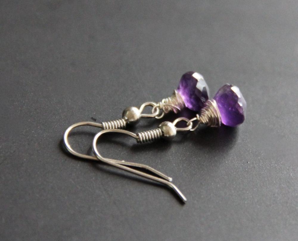 Purple Amethyst Earrings Wire Wrapped