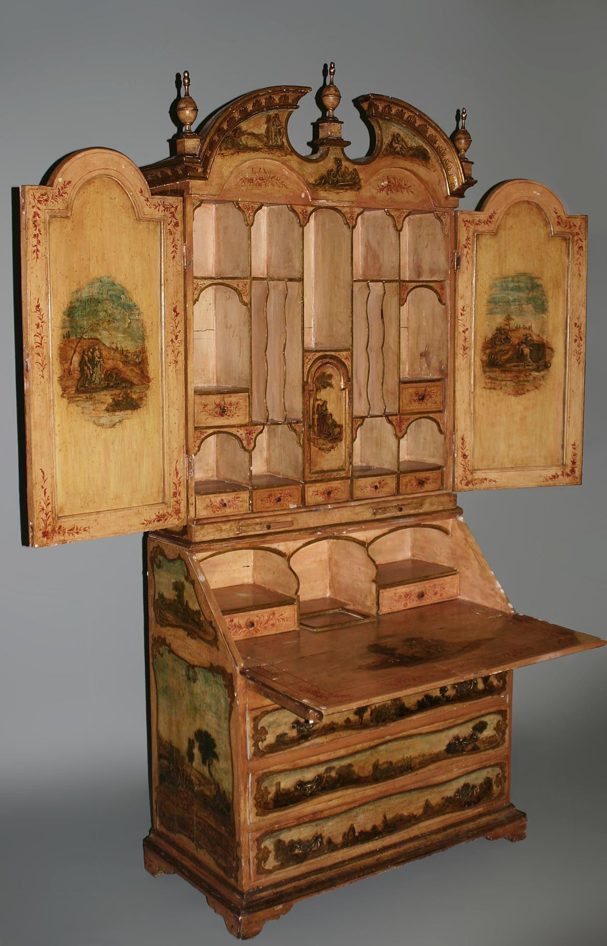 Fine, Italian, Rococo style, polychrome-painted and laca povera bureau bookcase