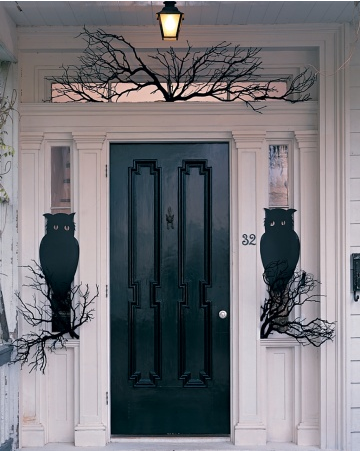 Owl Night Watchers A Pair Of Wide Eyed Owls Guard The Front Door. To Make  Their Perches, Use A Few Bare Branches Paint Branches Black And Wedge Into  Place.