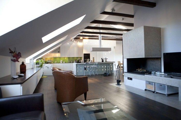 offener Wohnbereich im Loft gestalten - Sideboard unter Dachschräge ...