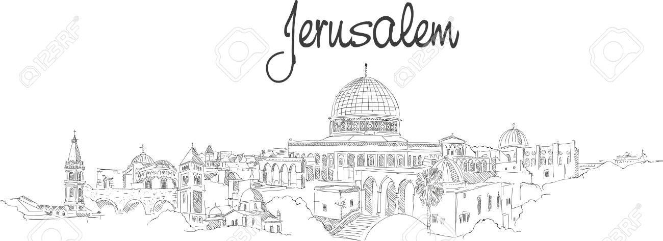 Jerusalem Sketch Wedding Invitation Google Search Skyline Drawing City Illustration Drawings
